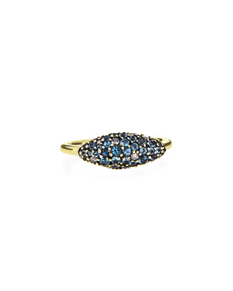 18k Gold Pave Blue Sapphire Marquis Ring