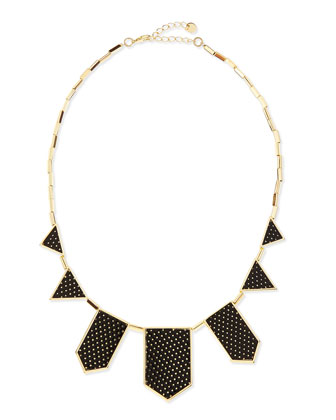 Perforated Five-Station Necklace, Black