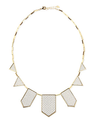 Perforated Five-Station Necklace, White