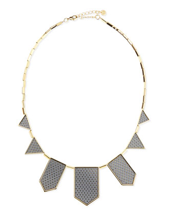 Perforated Five-Station Necklace, Gray