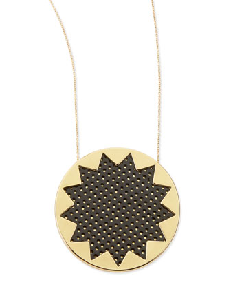 Sunburst Perforated Pendant Necklace, Black