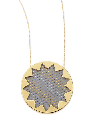 Sunburst Perforated Pendant Necklace, Gray