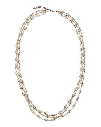 Silver Metal Three-Strand Necklace