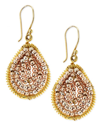 Small Rose Golden Beaded Teardrop Earrings