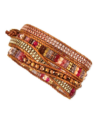 Beaded Wrap Bracelet, Golden/Bronze