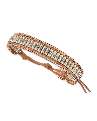 Metal Beaded Cord Bracelet, Rose/Silvertone/Tan