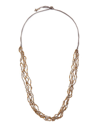 Beaded Multi-Strand Long Necklace, Gold/Silver/Gray