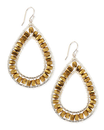 Two-Tone Metal Beaded Teardrop Earrings