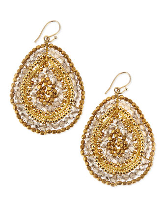 Gray Crystal Beaded Yellow Golden Teardrop Earrings