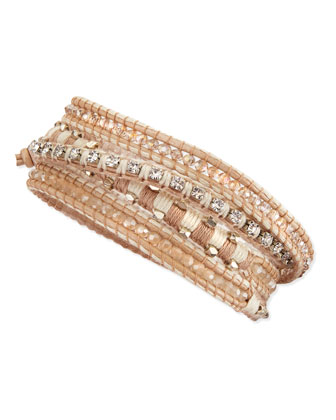 Mixed-Bead Multi-Wrap Bracelet, Silver