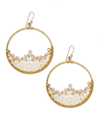 Crescent Beaded Hoop Earrings, Gold
