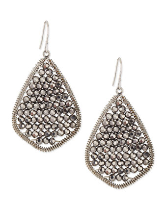 Gunmetal Beaded Teardrop Earrings