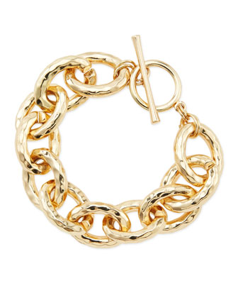 Hammered Golden Link Toggle Bracelet
