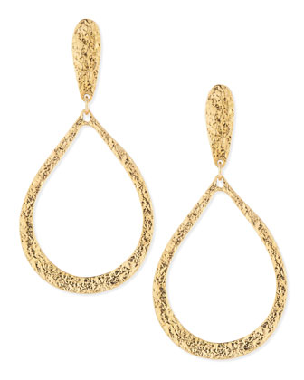 Hammered Golden Teardrop Earrings