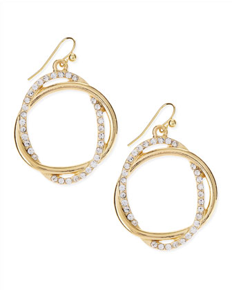 Pave Crystal Golden Interlocked Loop Earrings