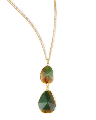 Double Tiered Green Crystal Pendant Necklace