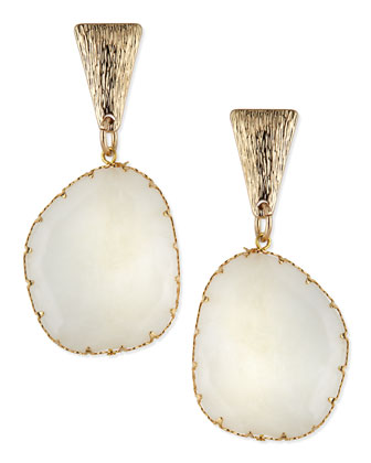 White Drop Earrings with Brushed Golden Finding