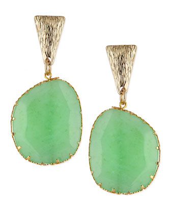 Green Drop Earrings with Brushed Golden Finding