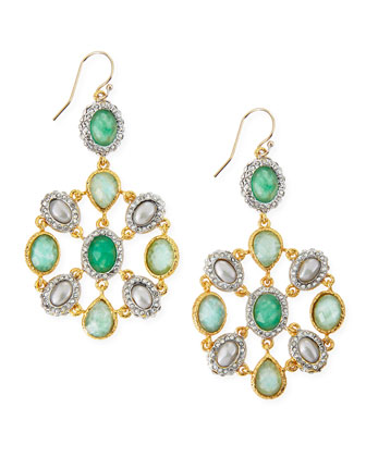 Multi-Stone Mosaic Drop Earrings, Green