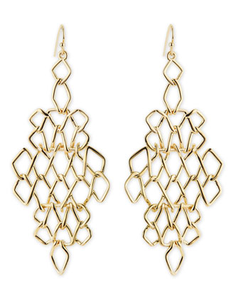 Golden Barbed Articulating Diamond-Shaped Drop Earrings