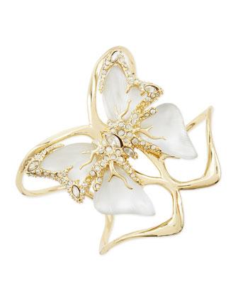 Lucite Butterfly Bracelet, White