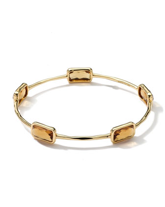 18k Gold Rock Candy Gelato 5-Stone Bangle, Cognac Citrine