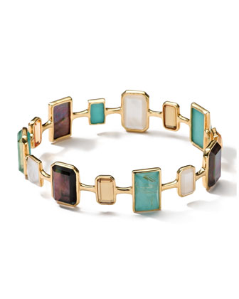 18k Gold Rock Candy Gelato Medium Rectangular 14-Stone Bangle, Sailor