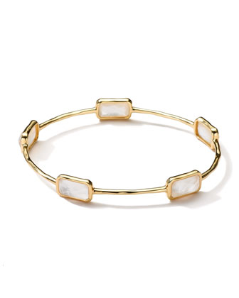 18k Gold Rock Candy Gelato 5-Stone Bangle, Mother-of-Pearl