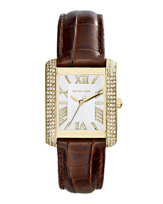 Mid-Size Leather Emery Three-Hand Glitz Watch