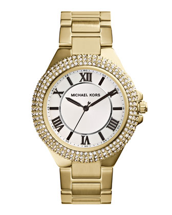 Slim Golden Stainless Steel Camille Three-Hand Glitz Watch
