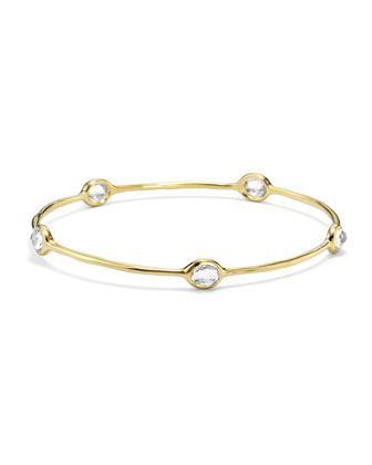 18k Gold Rock Candy 5-Stone Bangle in Clear Quartz
