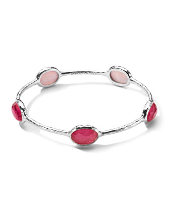 Sterling Silver Wonderland 5-Stone Bangle in Peony