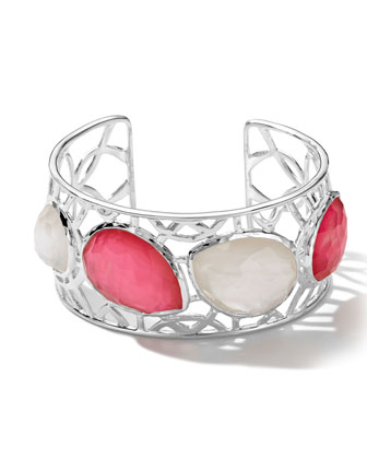 Sterling Silver Wonderland Cutout 4-Stone Cuff in Peony/Mother-of-Pearl
