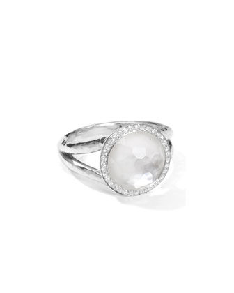 Stella Mini Lollipop Ring in Mother-of-Pearl Doublet with Diamonds, 0.29ctw