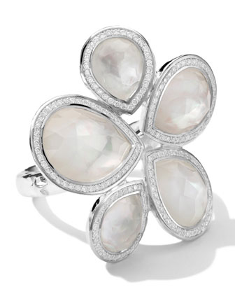 Sterling Silver Stella Teardrop Stone Ring in Mother-of-Pearl/Diamonds