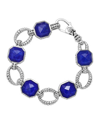 Sterling Silver Lapis Rocks Medium Link Bracelet
