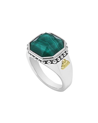 14mm Sterling Silver Malachite Rocks Ring