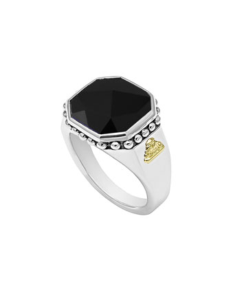 14mm Sterling Silver Onyx Rocks Ring