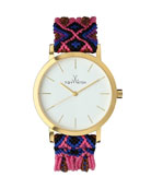 Maya Yellow Golden Watch with Crochet Band, Pink/Multi