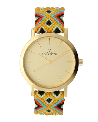 Maya Yellow Golden Watch with Crochet Band, Yellow/Multi