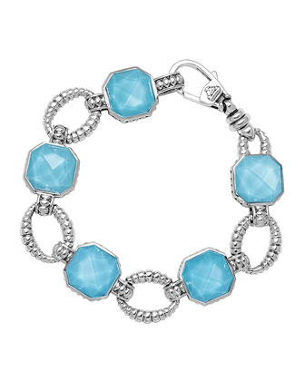 Sterling Silver Turquoise Rocks Medium Link Bracelet