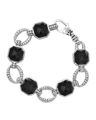 Sterling Silver Onyx Rocks Medium Link Bracelet