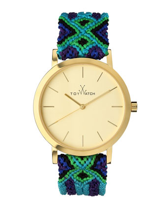 Maya Yellow Golden Watch with Crochet Band, Green/Blue/Multi