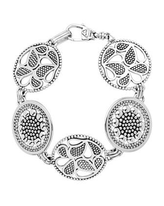 Sterling Silver Voyage Caviar Floral Circle Bracelet