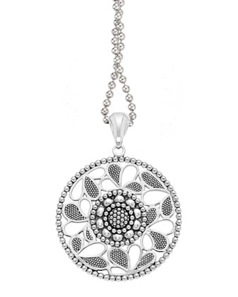 Sterling Silver Voyage Caviar Floral Circle Pendant Necklace, 34