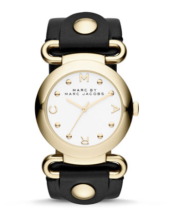Molly Analog Watch, Yellow Golden/Black