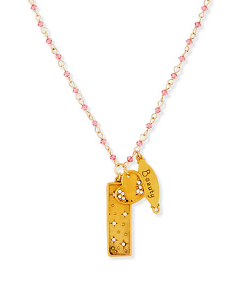 Beauty Heart Talisman Necklace with Pink Beads