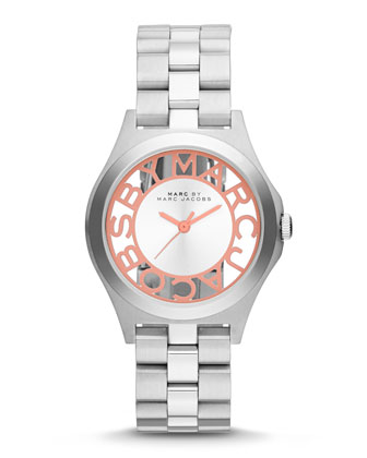34mm Henry Skeleton Watch, Stainless/Coral