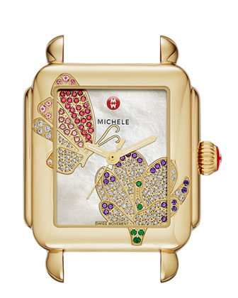 Limited Edition Deco Jardin Gold Diamond-Dial Watch Head & 18mm Blush ...