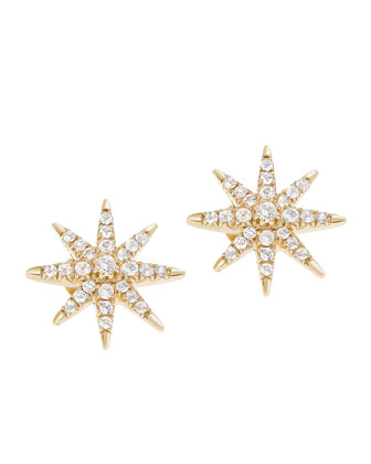 White Topaz Compass Rose Stud Earrings
